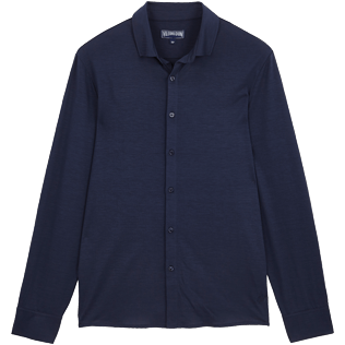 Men Others Solid - Jersey Tencel Men Shirt Solid, Navy front