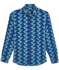 Others Printed - Unisex Cotton Voile Light Shirt Cows Puzzle, Batik blue front