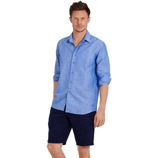 Men Others Solid - Men Cotton Linen Shirt Solid, Neptune blue supp3