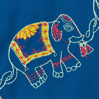 Men Swimwear Embroidered Elephant Dance - Limited Edition, Goa pattern