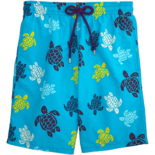 Men Long Printed - Tortues Multicolores Long Cut Swim shorts, Azure front