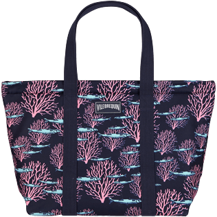 Others Printed - Large Beach Bag Coral & Fish, Navy back