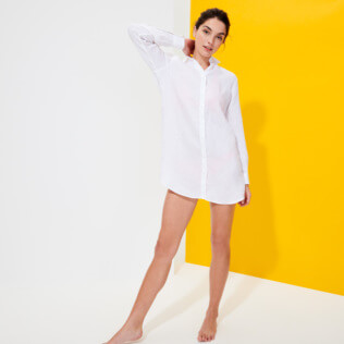 Women Others Solid - Women Long Linen Shirt Solid, White supp2