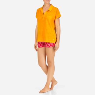 Women Others Solid - Solid Linen Jersey Polo, Turmeric frontworn