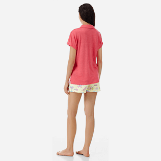 Women Others Solid - Women Linen Polo Shirt Solid, Hibiscus backworn