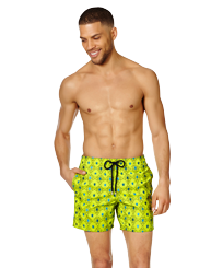 Men 017 Embroidered - Men Swimwear Embroidered Squad Turtles - Limited Edition, Chartreuse frontworn
