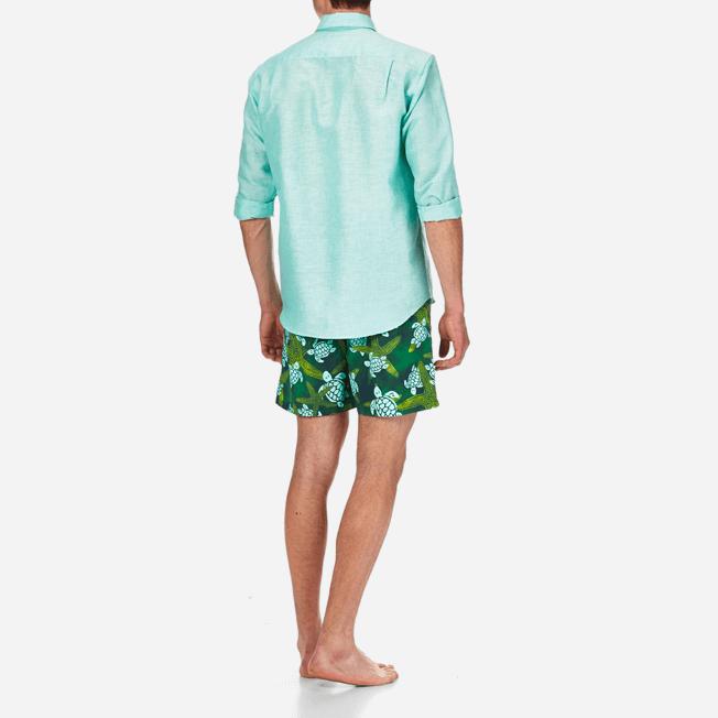 Vilebrequin - Camisa en lino de algodón liso para hombre - 4