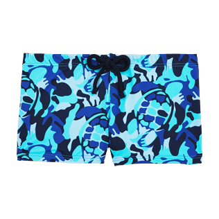 Boys Short, Fitted Printed - Camouflage Turtles Boxer Swimwear, Azure front