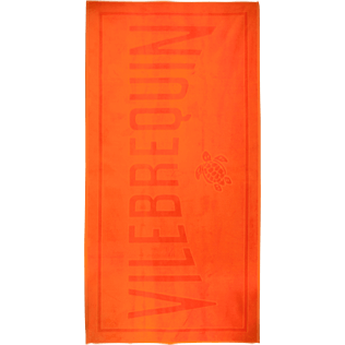 Towels Solid - Beach Towel in Terry Cloth Solid Jacquard, Kumquat front
