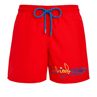 Men Classic Embroidered - Men Swimwear placed embroidery Vilebrequin squale - Vilebrequin x JCC+ - Limited Edition, Medicis red front
