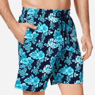 Men Long classic Printed - Men Swim Trunks Long Stretch Turtles Flowers, Navy supp1