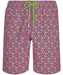 Men Long classic Printed - Men Long Swim Trunks Indian Ceramic, Pink berries front