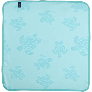 Others Solid - Baby Bathing Cape in cotton Turtle Jacquard, Acqua front