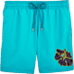 Men Classic / Moorea Embroidered - Natural Flower Placed Embroidery Swim shorts, Azure front