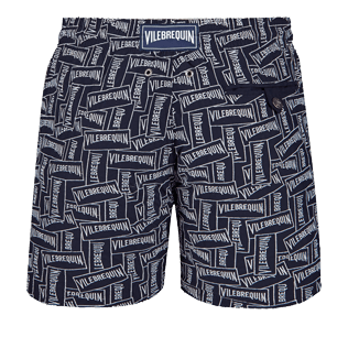 Men 017 Embroidered - Men Embroidered Swim Trunks Vilebrequin Labels - Limited Edition, Navy back
