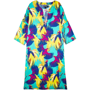 Women Others Printed - Women Long Twill Silk Tunic Dress Birds of Paradise, Veronese green front
