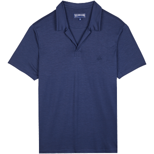 Men Others Solid - Men Tencel Polo Shirt Solid, Navy front