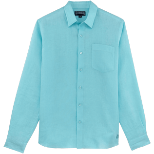 Men Others Solid - Men Linen Shirt Solid, Aquamarine front