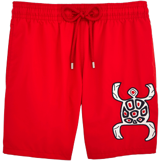 Men Embroidered Embroidered - Primitive Turtle Placed Embroidery Swim shorts, Poppy red front