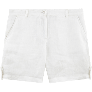 Women Others Solid - Solid Linen Bermuda shorts, White front