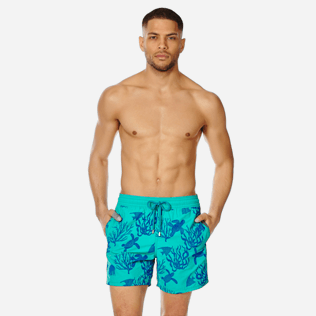 Men Classic Printed - Men Swimwear Flocked Coral and Turtles, Veronese green frontworn