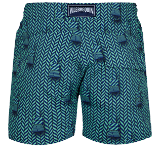 Men Flat belts Printed - Men Swim Trunks Flat Belt Stretch Maharadjah, Batik blue back