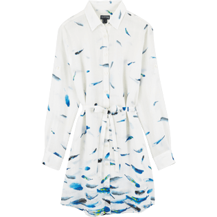 Women Dresses Printed - Blue Breath Long dress shirt, White front