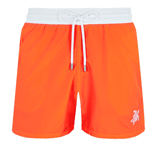 Men Ultra-light classique Solid - Men Swim Trunks Ultra-Light and Packable Solid Bicolore Fluo, Neon orange front