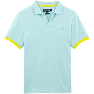 Men Polos Solid - Solid Cotton pique polo, Frosted blue front