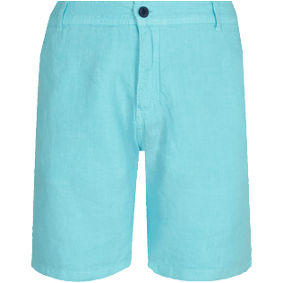Men Others Solid - Men straight Linen Bermuda Shorts Solid, Lazulii blue front