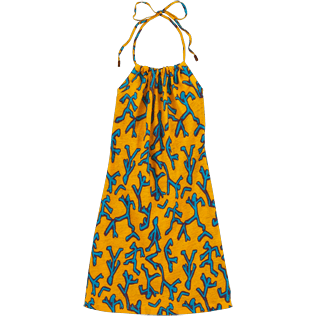 Women Others Printed - Danse du Feu Halter back dress, Turmeric front