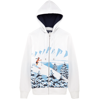 Men 008 Printed - Ski Resort Hoody fleece sweater, White front
