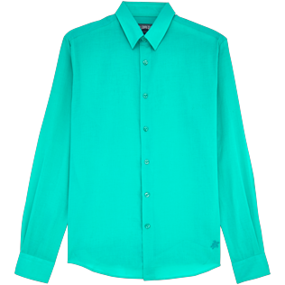 Men Shirts Solid - Solid Cotton veil shirt, Veronese green front