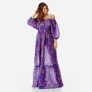 Women Others Printed - Women Off-the-shoulder cotton long Dress Phuket, Sea blue frontworn