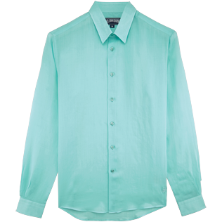 Shirts Embroidered - Unisex Linen Voile Shirt Solid, Lagoon front
