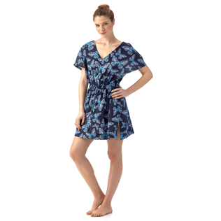 Women Dresses Printed - Butterflies Cover-up V Neck, Navy supp1