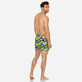 Men Stretch classic Printed - Men Swimwear Stretch Neo camo Turtles, Neon yellow backworn