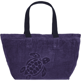 Andere Uni - Große Solid Jacquard-Strandtasche aus Frottee, Midnight blue front