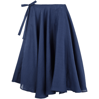 Women Others Solid - Women Long Linen Voile Pareo Skirt Solid, Navy front