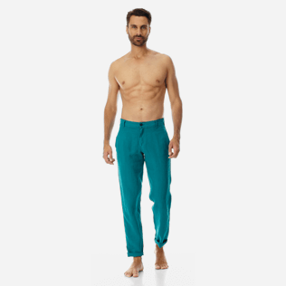 Men Others Solid - Men straight Linen Pants Solid, Pine wood supp3
