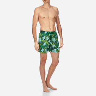 Men Classic Printed - Men Swimtrunks Starlettes & Turtles Vintage, Malachite green frontworn