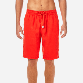 Men Shorts Solid - Men Italian Pockets Linen Bermuda Shorts Solid, Poppy red supp1
