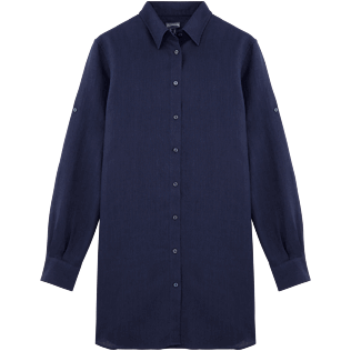 Women Shirts Solid - Solid Linen Long cut boyfriend shirt, Navy front