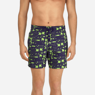 Men Classic / Moorea Printed - Men Lightweight and Packable Swimtrunks Eels Knitting, Wasabi supp1