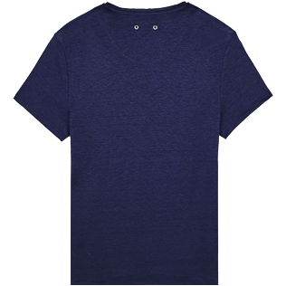 Men Others Solid - Men Linen Jersey T-Shirt Solid, Navy back