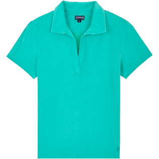 Women Others Solid - Women Terry cloth Polo Shirt Solid, Veronese green front