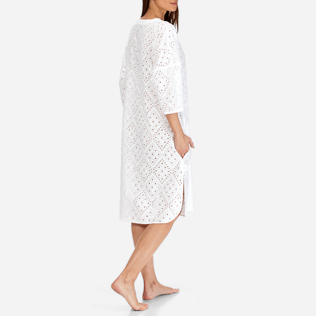 Women Others Embroidered - Women Short Cotton Tunic Dress Eyelet Embroidery, White backworn