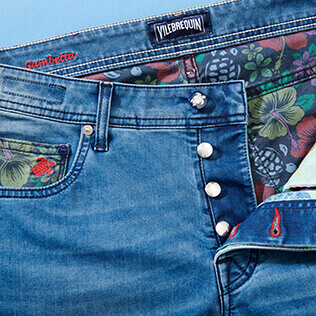 Uomo Altri Stampato - Pantaloni uomo a 5 tasche in denim con stampa Tropical Turtles, Med denim w2 supp4