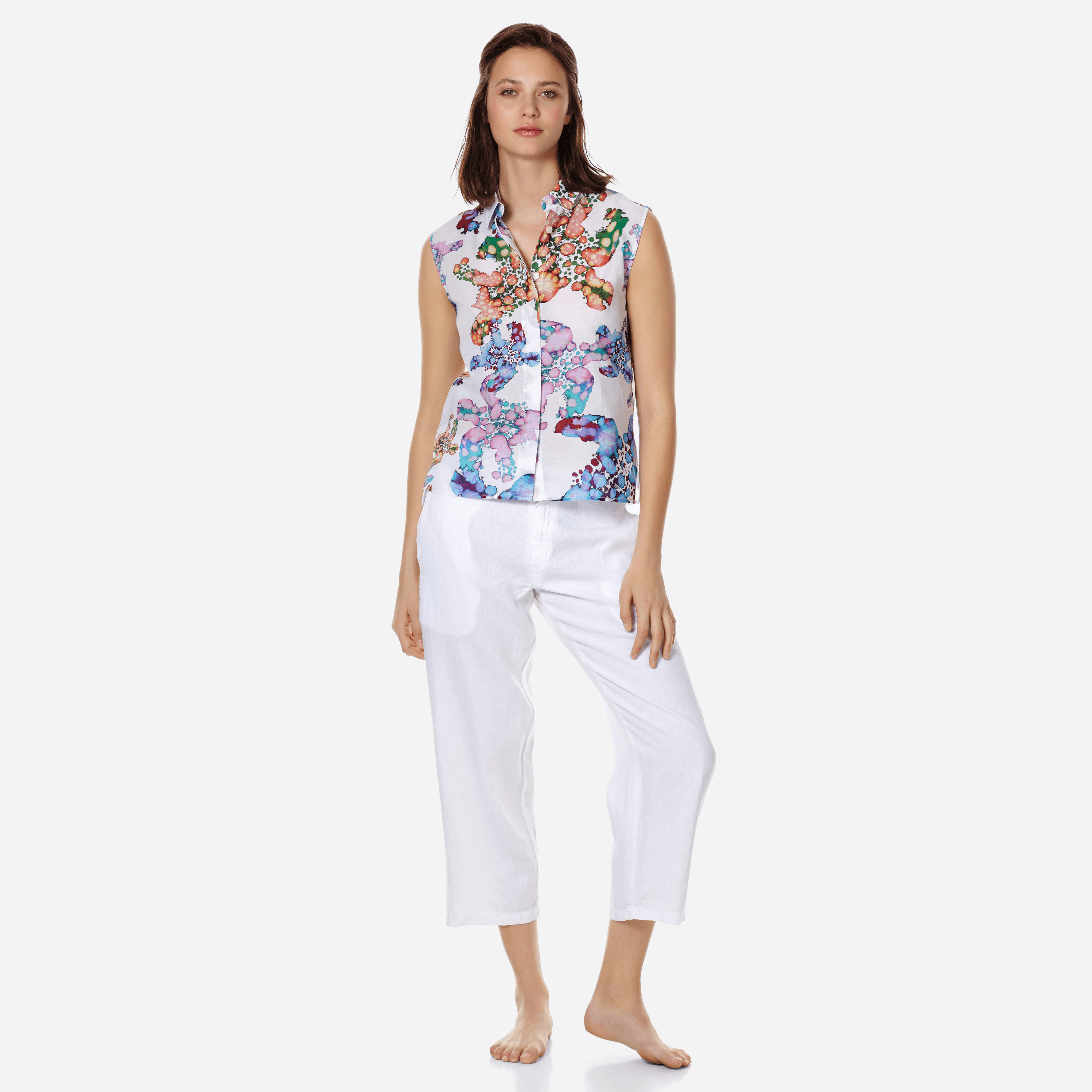 Vilebrequin Women Cotton Shirt Watercolor Turtles In White