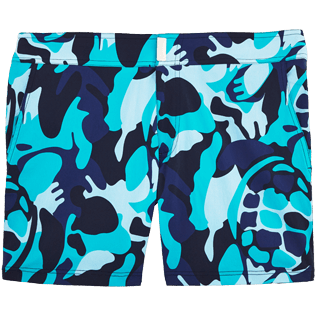 Men Fitted Printed - Camouflage Turtles Fitted cut Swim shorts, Azure front